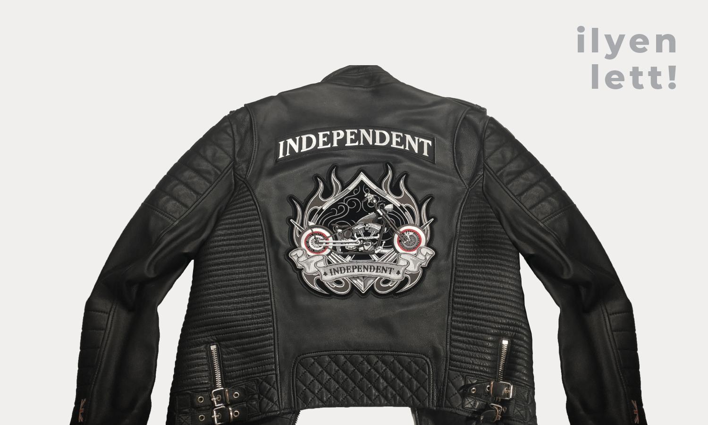 independent motoros kabát-ilyen lett-háttérrel